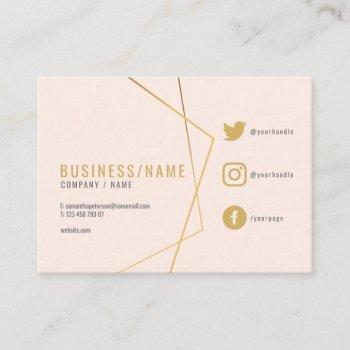 subtle pink social media business card. business card