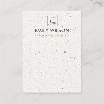 subtle white ceramic texture earring display logo business card