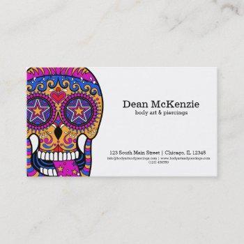 sugar skull body art business card