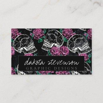 sugar skull pink roses | girly gothic grunge glam business card