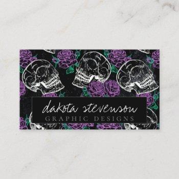 sugar skull purple roses | dark royal grunge glam business card