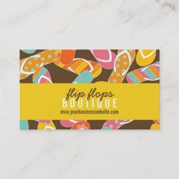 summer and fun colorful beach flip flops pattern business card