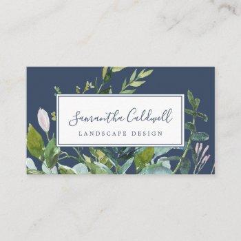 summer greenery | navy business card