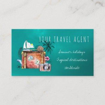 summer holidays travel agent business cards