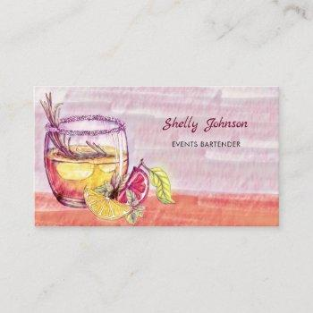 summery watercolor cocktail events bartender business card