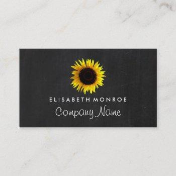 sunflower and chalkboard, floristry business card