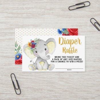 sunflower elephant diaper raffle ticket