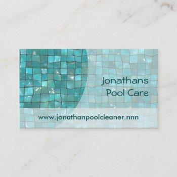 sunlit water with turquoise tiles business card