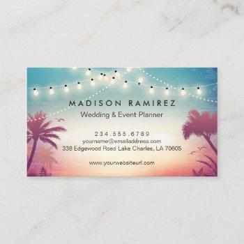 sunset string lights palm outdoor event planner business card