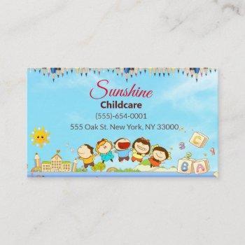 sunshine cartoon children daycare childcare business card