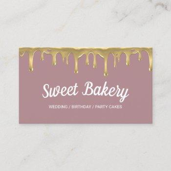 sweet bakery gold dripping event party cakes business card