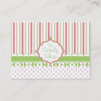 sweet candy shop stripes business card