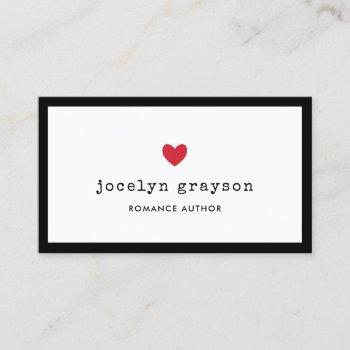 sweet red heart romance author business card