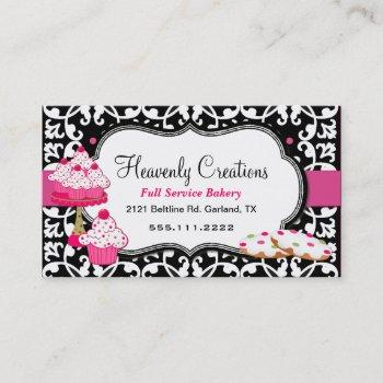 sweet treats and damask bakery business card