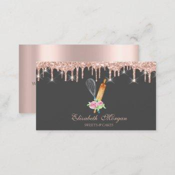 sweets cupcake rose gold drips bakery business card