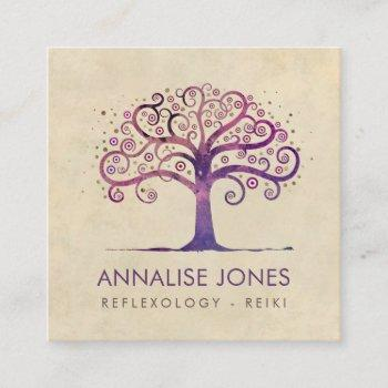 swirl tree of life - violet purple square business card