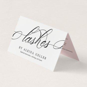 swirly script lash artist aftercare business card