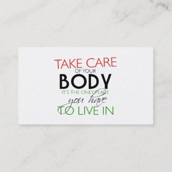 take care of your body nutritionist card