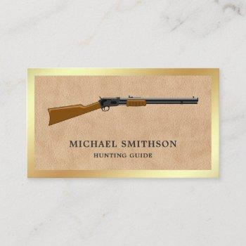 tan leather shotgun rifle gun shop gunsmith business card