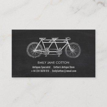 tandem bicycle & chalkboard, antique dealer business card