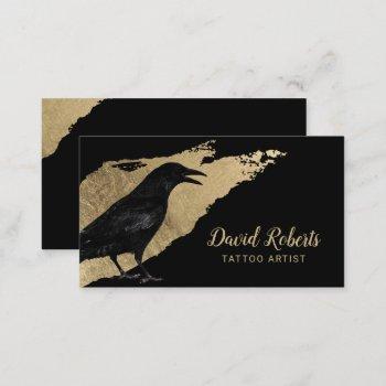 tattoo artist black crow modern gold brush stroke business card