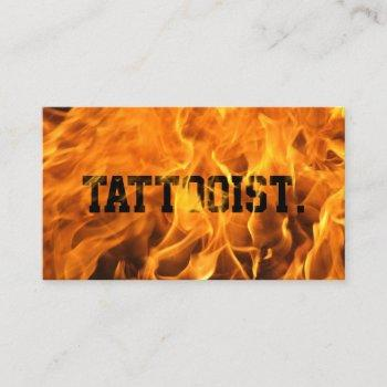 tattoo artist creative flaming fire typography business card