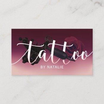 tattoo artist gun & flower typography burgundy red business card