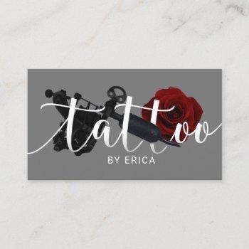 tattoo artist tattoo gun & flower typography business card