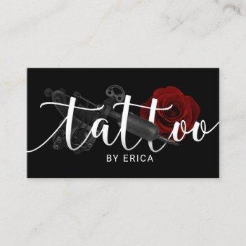 tattoo artist tattoo gun & rose typography business card