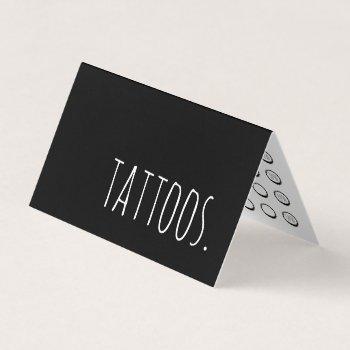 tattoo folded loyalty punch card