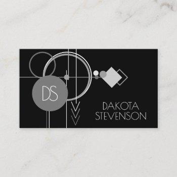 tattoo modern art deco | black and gray monogram calling card
