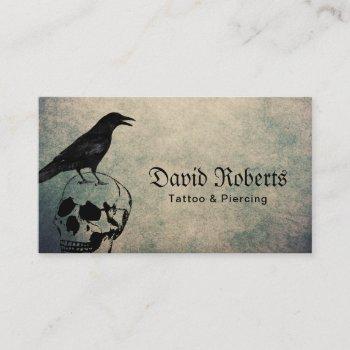 tattoo & piercing vintage crow & skull business card