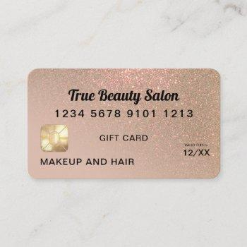 taupe gold glitter credit card gift certificate