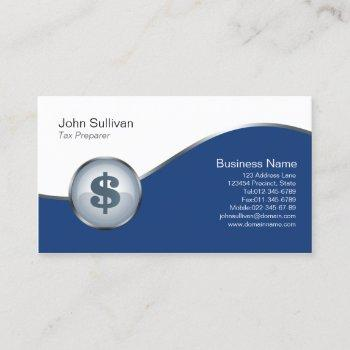 tax preparer financial services dollar icon business card