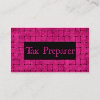 tax preparer pink woven business card