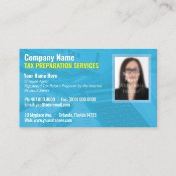 tax preparing (preparer) photo business card