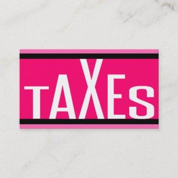 taxes pink striped business card