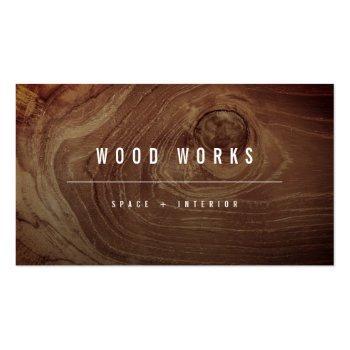 Small Teak Wood Grain Photo Minimalist Interior Design Business Card Front View
