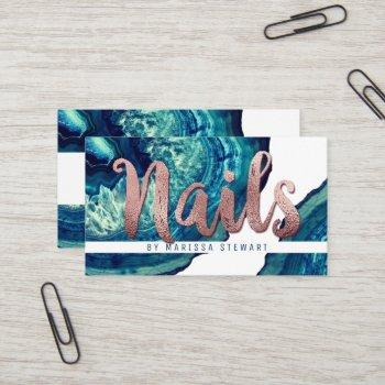 teal agate geode stone rose gold nail technician business card