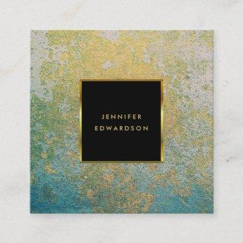teal and gold stone geode professional square business card