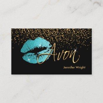 teal blue lips - avon business card