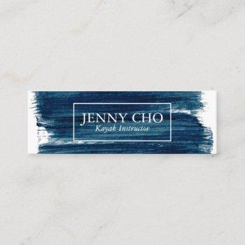 teal blue paint stripe hand painted mini business card