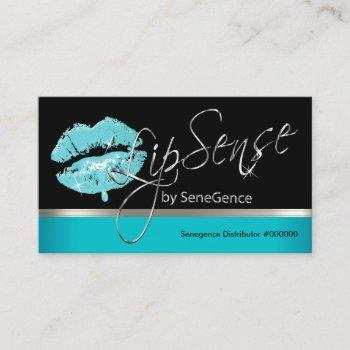 teal drip lip and silver business card