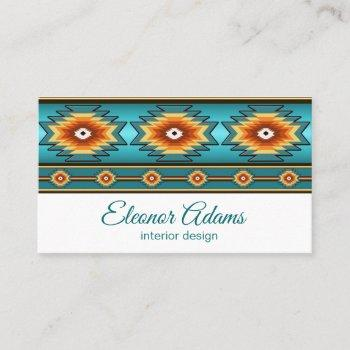 teal geometric pattern. business card