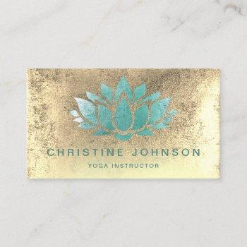 teal lotus on faux gold foil business card