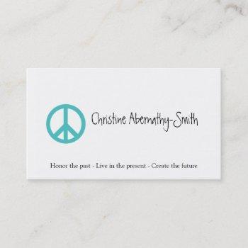 teal peace symbol business card