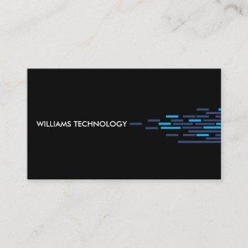 technical pattern in blue on black business card