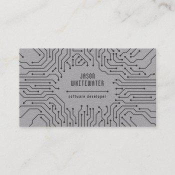 techno flat sleek modern business card