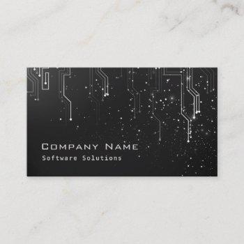 techno modern design business card - black & white