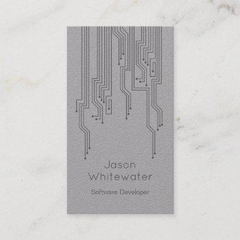 techno sleek style business card - grey